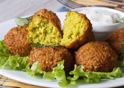 Falafel: €5/portion of 6 pieces